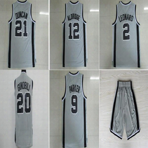 Top Quality !2 Leonard Jersey 21 Tim Duncan 14 Danny Green Basketball Jerseys All Stitched For Sport Fans Black White Gray Free Shipping