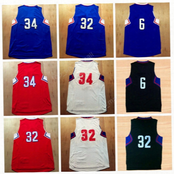 Top Quality 32 Blake Griffin Basketball Jerseys 2017 Man 6 Deandre 34 Paul Pierce Jersey Sport Red Blue White Black With Player Name