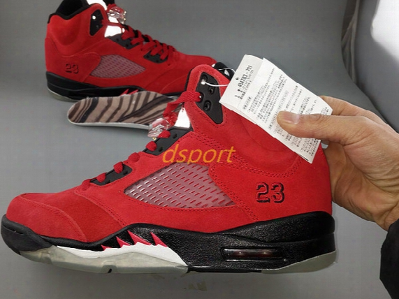 Top Quality Air Retro 5 V Basketball Shoes Raging Bull University Red Sneakers Sport Shoes With Origiinal Box