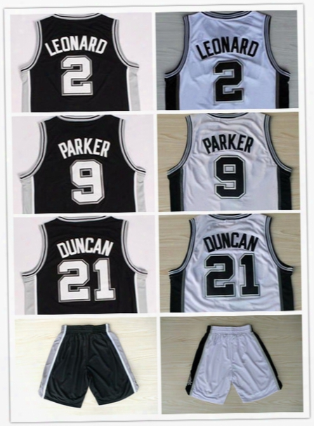 Top Quality!mens #2 Kawhi Leonard Jersey All Stitched #9 Tony Parker #21 Tim Duncan Basketball Jerseys Size:s M L Xl Xxl