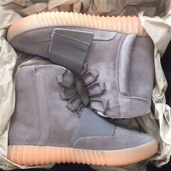 "Top Version Real Photos Kanye West 750 Boost "" Light Grey Gum Bb1840"" Glow In The Dark Men's Sports Shoes Size 36-46 Free Dhl"