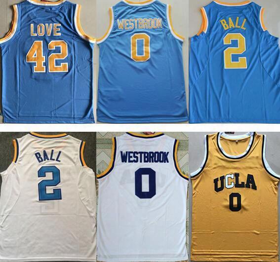 Ucla Bruins College Jerseys #0 Russell Westbrook Jersey #42 Kevin Love #2 Lonzo Ball Jersey Mens Blue White Yellow Basketball Jerseys