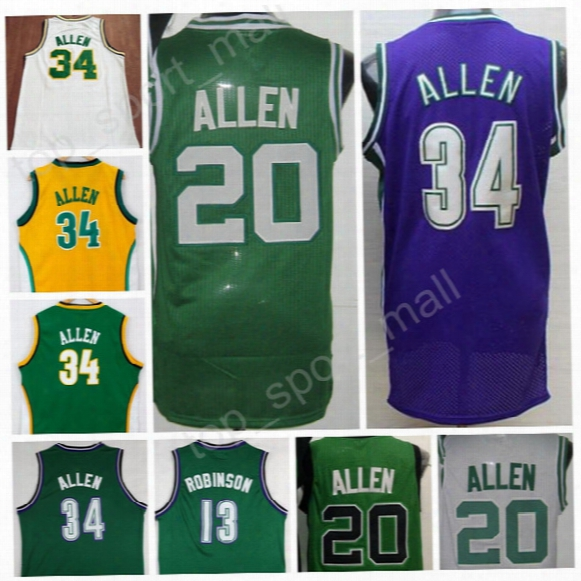 Wholesale 20 Ray Allen Throwback Jerseys 2017 Men Basketball Lincoln 34 Jesus Shuttlesworth Jersey Movie Big State He Got Game Green White