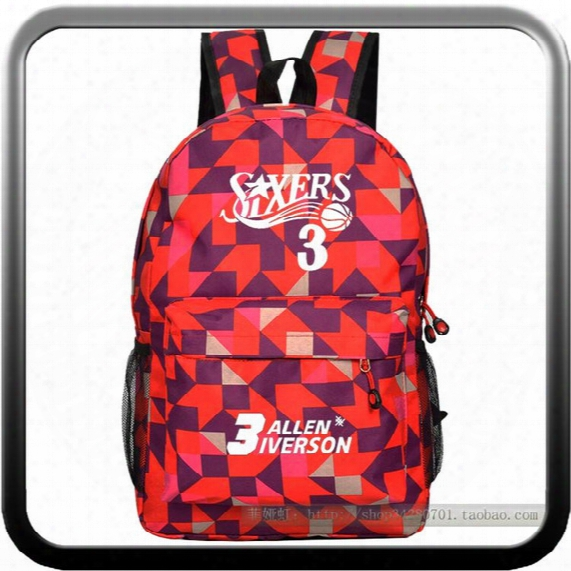 Wholesale-#3 Allen Iverson Birthday Gift Male And Female Students Backpack 76ers Schoolbag Boys Girls Basketball Star Backpack