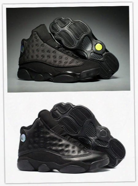 Wholesale Air Retro 13 Xiii Black Cat All Black Star 13s Men Basketball Shoes Sports Sneakers Trainers High Quality Discount Size 8-13
