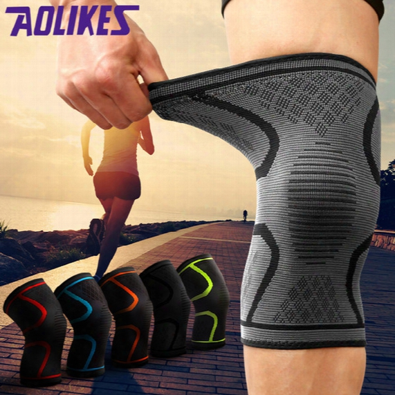 Wholesale- Aolikes 1pcs Breathable Basketball Football Sport  Safety Kneepad Volleyball Knee Pads Training Elastic Knee Support Knee Protect