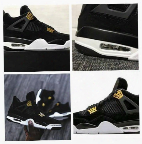 Wholesale Fashion Shoes Air Retro 4 Iv Royalty Men Basketball Shoes Suede Black Gold Retro 4s Athletic Sports Shoes Sneakers