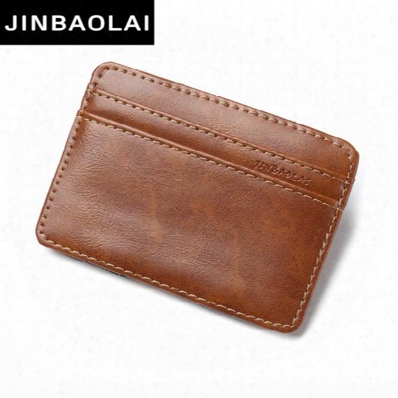 Wholesale- Jinbaolai 2017 Brand Fashion Vintage Style High Quality Pu Leather Magic Wallets Mini Multifunctional Card Holder Magic Wallets