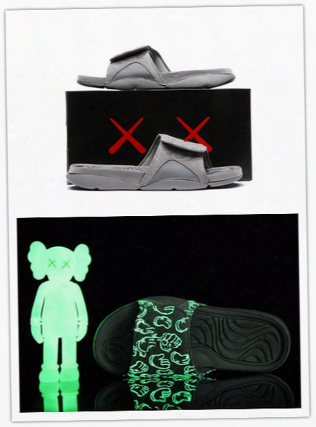 Wholesale New Air Retro 4s Kaws X Hydro 4 Cool Grey Slippers Iv Sandals Slides Basketball Shoes Sneakers Glow In Dark Size 7-12