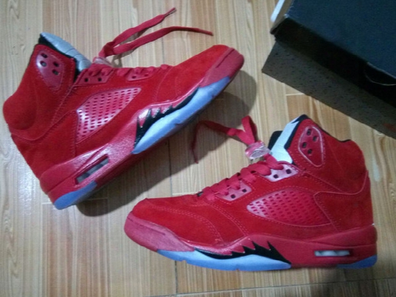 Wholesale Retro 5 Raging Bulls Best Qualiy Bull Red Suede Quai 5s Free Shipping Basketball Shoes Sneaker