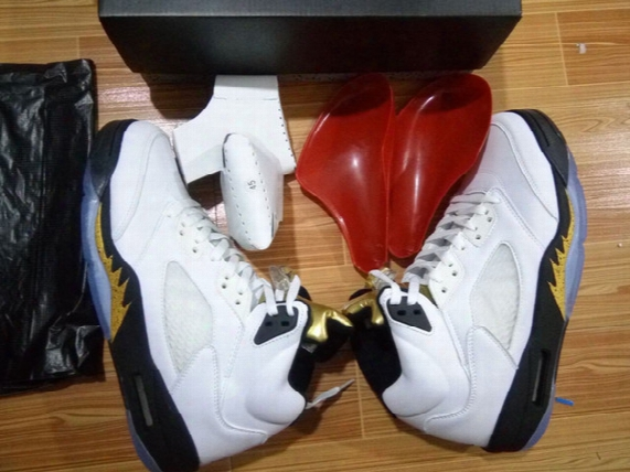 Wholesale Top Quality Air Retro 5 Olympic Ds Gold Medal Black White Wholesale Basketball Shoes Men Women Size With Box