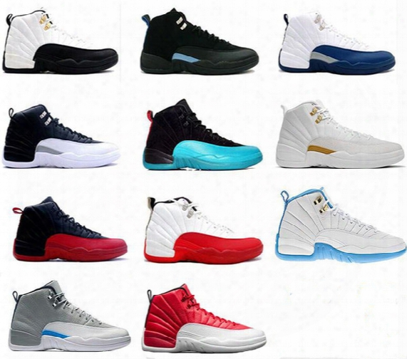 [with Box]2017 High Quality Air Jump Men Retro 12 Gs Barons Red Deer Nylon All Red Men Basketball Shoes Retro 12s Sneakers Size 8-13