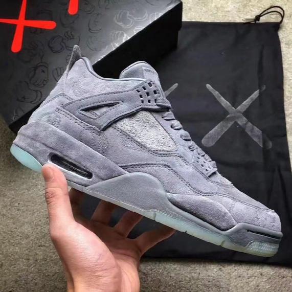 (withbox) Kaws X Air Retro 4 4s Xx Kaws Cool Grey White Glow Men Basketball Shoes Retro 4s White Blue Black Sports Sneakers