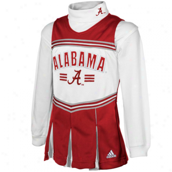 Adidas Alabama Crimson Tide Preschool Crimson-white 2-piece Turtleneck Cheer Dress