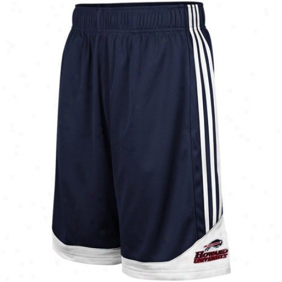 Adidas oHward Bison Navy Blue 3-stripe Pre-game Mesh Basketball Shorts
