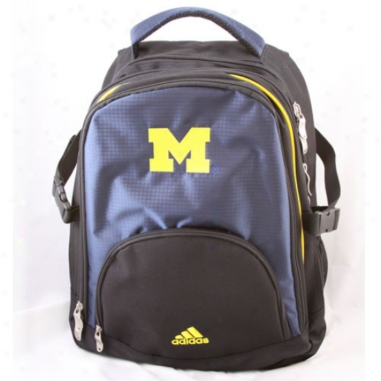 Adidas Michigan Wolverines Navy Blue-black New Campus Backpack