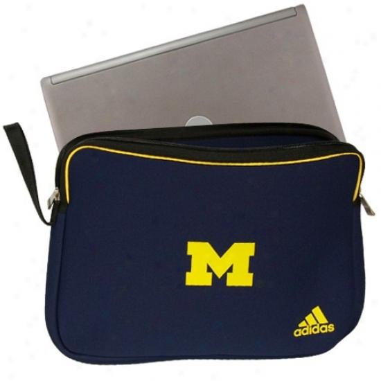 Adidas Michigan Wolverines Navy Blu Logo Padded Laptop Sleeve