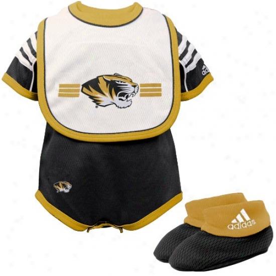 Adidas Missouri Tiger Infant Black 3-piece Creeper Set