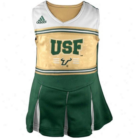 Adidas South Florida Bulls Toddler Gold-green Cheerleader Dress & Bloomers Set