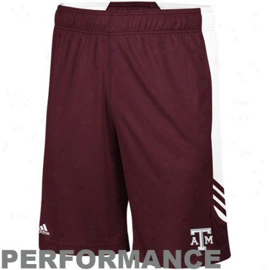 Adidas Texas A&m Aggies Maroon-white Scorch Performance Instruction Shorts
