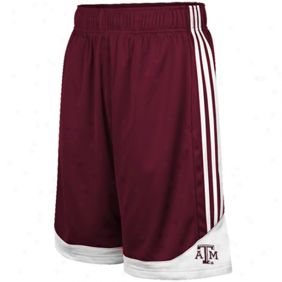 Adidas Texas A&m Aggies Youth Maroon Pre-game Mesh Basketball Shorts