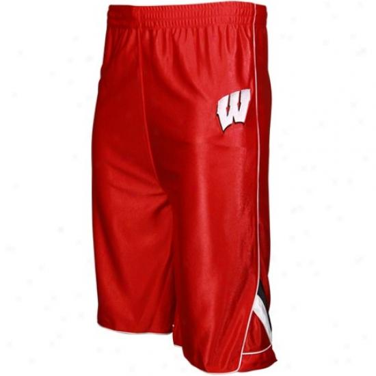 Adidas Wisconsin Badgers Cardinal Youth Moneyclip Basketball Shorfs