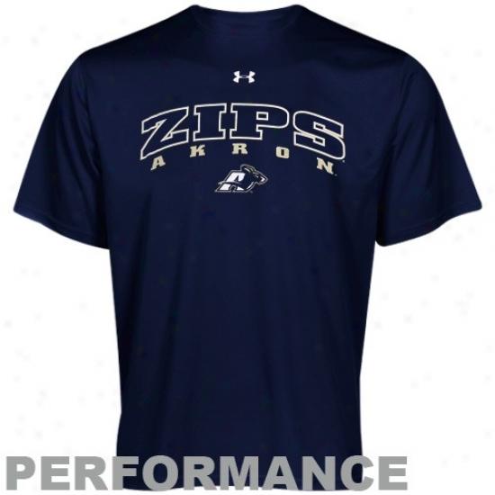 Akron Zips Tee : Under Armour Akron Zips Navy Blue Heatgear Training Performance Tee