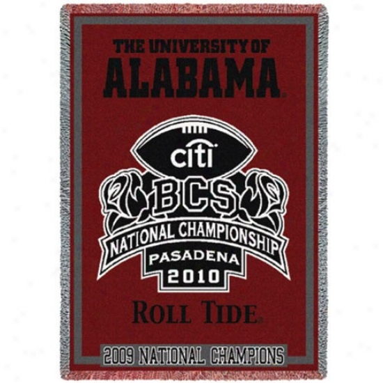 """alabama Crimson Tide 2009 Bcs National Champions Crimson 48"""" X 69"""" Bcs Logo Throw Blanket"""