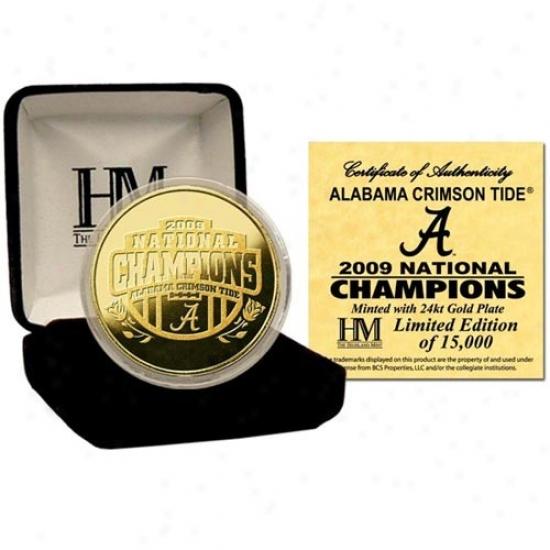 Alabama Crimson Tide 2009 Bcs National Champions 24kt Gold Bcs National Champions Commemorative Coin