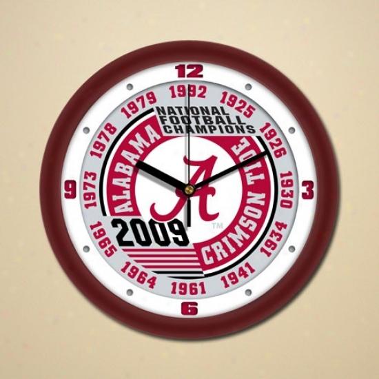 """alabama Crimson Tide 2009 Bcs National Champions Crimson-white 13x Champs Dimension 12"""" Wall Clock"""