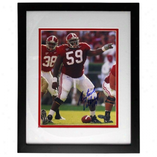 Alabama Crimson Tide Antoine Caldwell Autographed Alabama Pointing At The Line Framed 8x10 Photograph