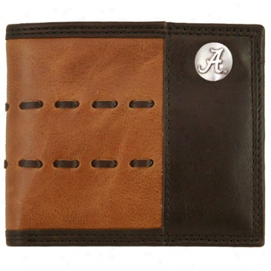 Alabama Crimson Tide Brown Leather Lacing Passcase Billfold Wallet