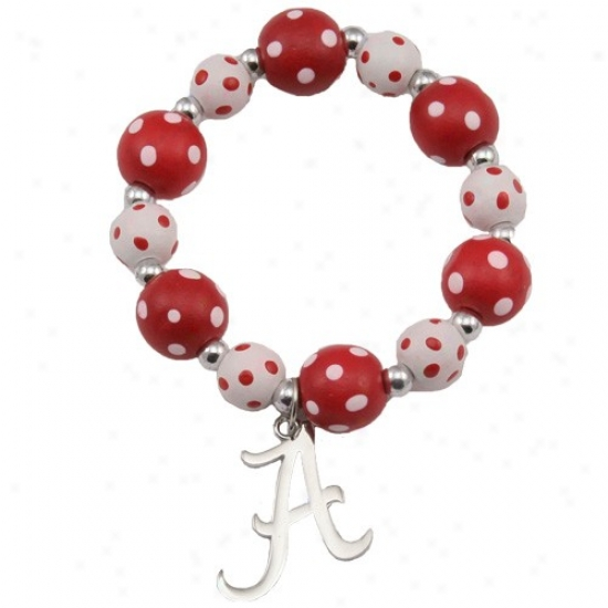 Alabama Crimson Tide Crimson-wjite Polka Dot Beaded Bracelet