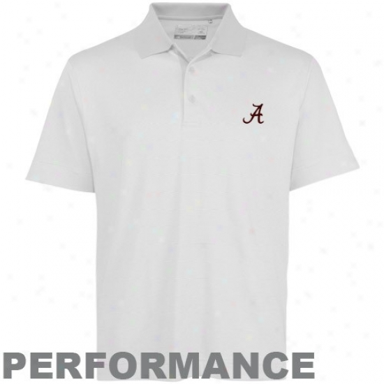 Alabama Crimson Tide Golf Shirt : Cutter & Buck Alabama Crimson Tide White Resolute Performance Golf Shirt