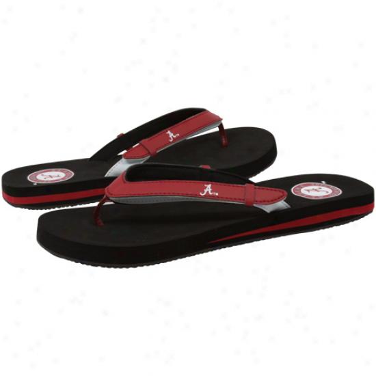 Alabama Crimson Tide Ladies Crimson-black Home And Away Flip Flops