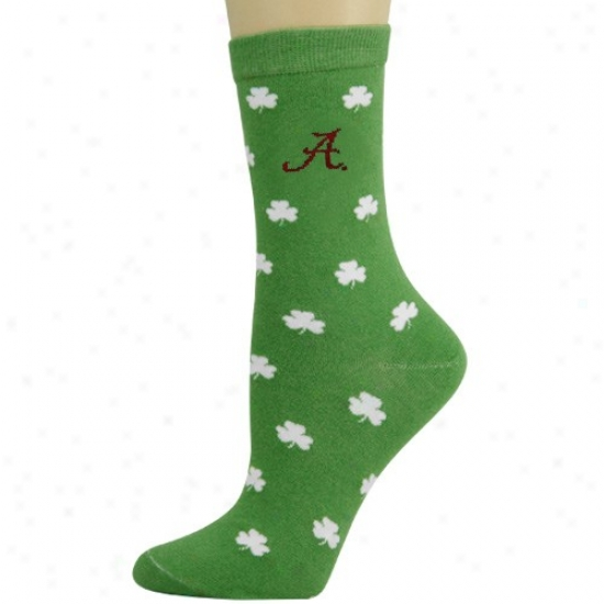 Alabama Crimson Course Laxies Kelly Green Shamrock Socks