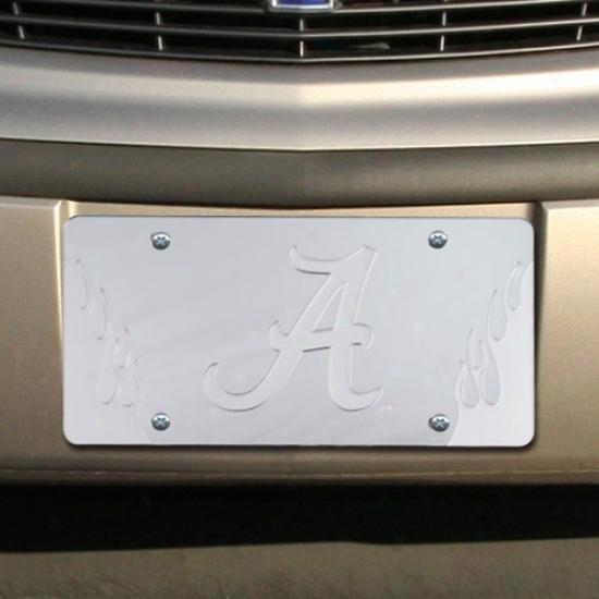 Alabama Crimson Tide Silver Mirrored Flame License Plate