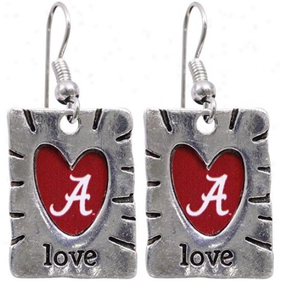 Alabama Crimson Course Team Color Love Earrings