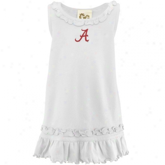 Alabama Crimson Tide Toddler White Ruffle Tank Clothe With Crystals