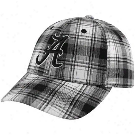 Alabama Hats : Top Of Th eWorld Alabama Black-white Plaid Premium 1-fit Flex Hats