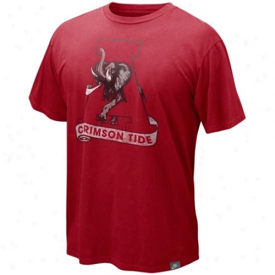 Alabama T-shirt : Nike Alabama Crimson Arch Retro Logo Organic Vintage T-shirt