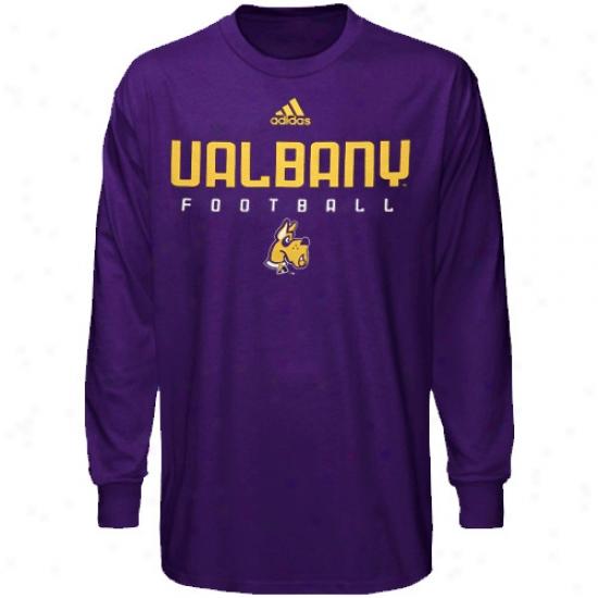 Albany Great Danes Shirts : Adidas Albany Greta Danes Purple Sideline Long Sleeve Shirts