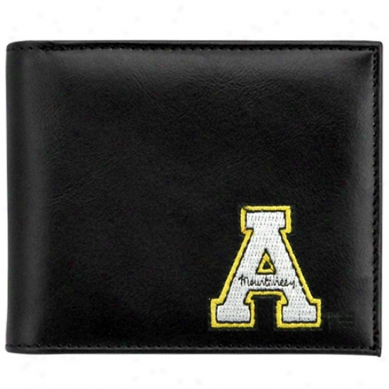 Appalachian State Mountaineers Black Leather Embroidered Billfold Wallet