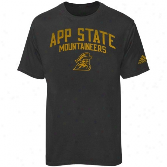 Apoalachian State Mountaineers Shirt : Adidas Appalachian State Mountaineers Charcoal Pigment Dyed Shirt