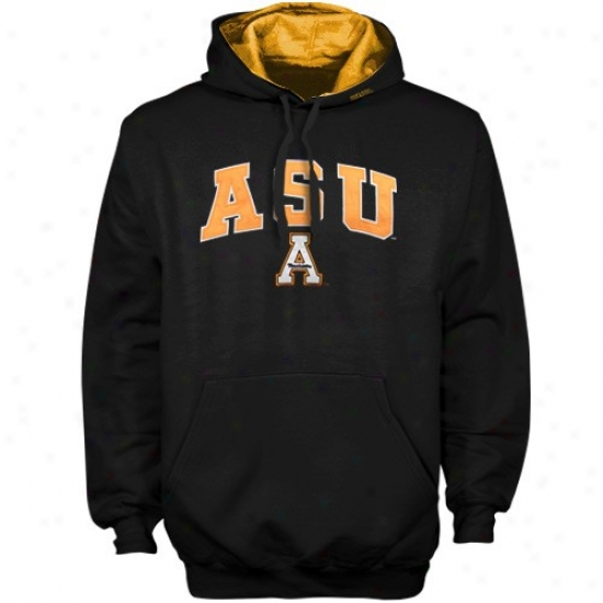 Appalachiaan Rank Mountaineers Sweatshirts : Appalachian State Mountaineers Black Classic Twill Pullover Sweatshirts