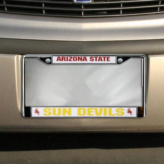Arizona State Sun Dveils Chrome License Plate Skeleton