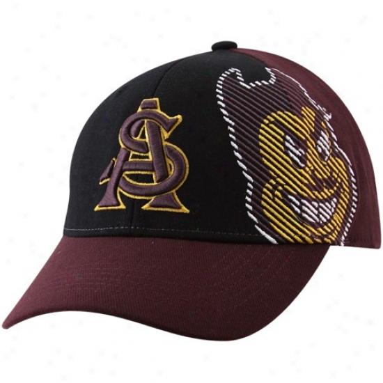 Arizona State Sun Devils Hat : Top Of The World Arizona State Sun Devils Maroon-black Sideline 1-fit Flex Hat