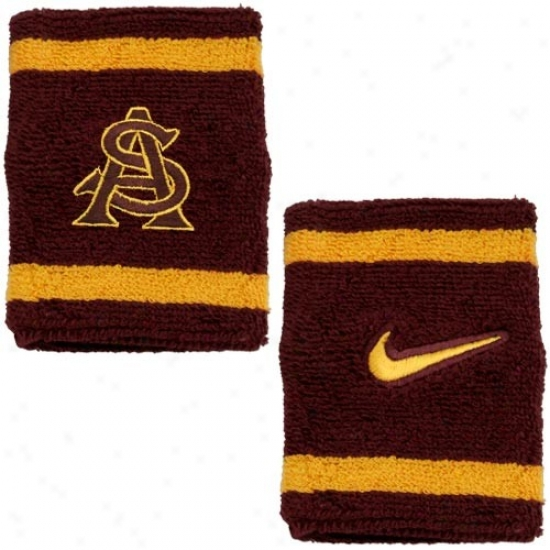 Arizona State Sun Devils Hats : Nike Arizona State Sun Deviks Maroon College Elite Wristgands