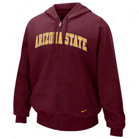 Arizona State Sun Devils Stuff: Nikr Arizona State Sun Devils Maroon Classic Full Zip Hoody Sweatshirt