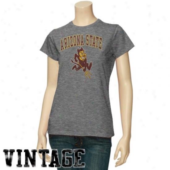 Arizona State Sun Devils T Shirt : Arizona State Sun Devils Ladies Dark Ash Big Arch N' Logo Vintage T Shirt